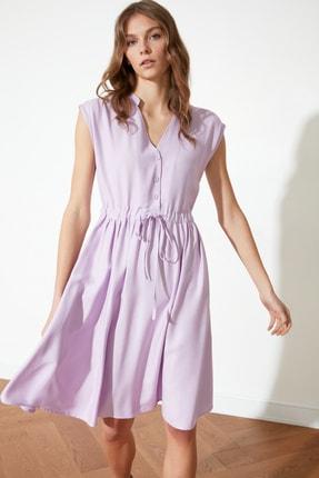 TRENDYOLMİLLA Lila Bel Büzgülü Elbise TWOSS21EL0881