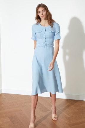 TRENDYOLMİLLA Mavi Kemerli Elbise TWOSS21EL0499