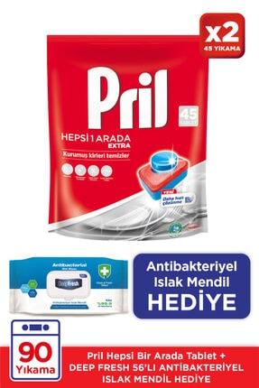 Pril Hepsi Bir Arada 45 Tablet Doypack *2'liset / Antibakteriyel Islak Mendil Hediye