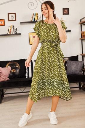 armonika Kadın Yeşil Desenli Beli Lastikli Bağlamalı Elbise ARM-21K001158