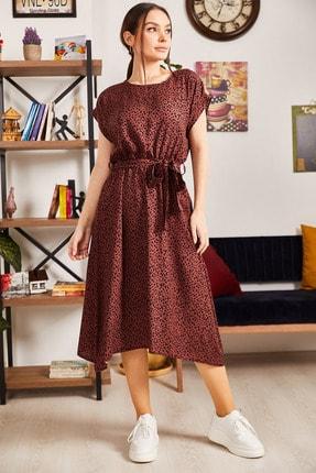 armonika Kadın Taba Desenli Beli Lastikli Bağlamalı Elbise ARM-21K001158