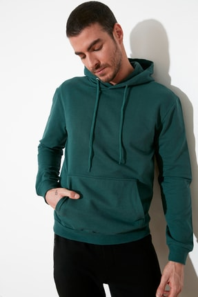 TRENDYOL MAN Petrol Erkek Kapüşonlu Kanguru Cepli Tok Kumaşlı Basic Sweatshirt TMNAW20SW0163