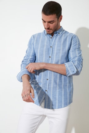 TRENDYOL MAN Saks Erkek Düğmeli Yaka İnce Çizgili Slim Fit Gömlek TMNSS20GO0092