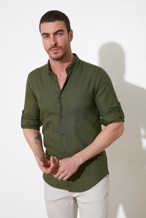 TRENDYOL MAN Yeşil Erkek Düğmeli Yaka Slim Fit Gömlek TMNSS20GO0115
