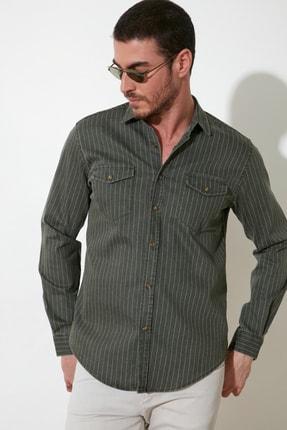 TRENDYOL MAN Haki Erkek Slim Fit Baskılı Kalın Gabardin Gömlek TMNSS20GO0103