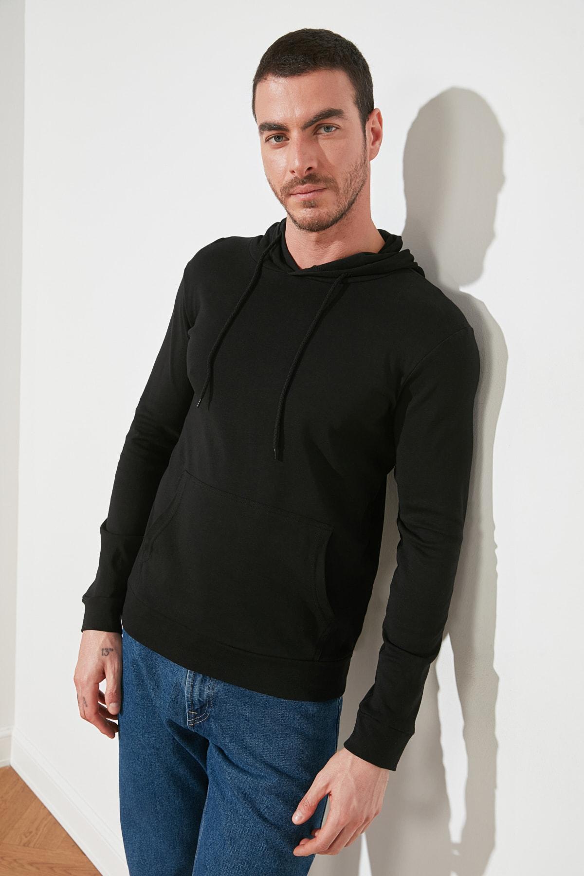 TRENDYOL MAN Siyah Erkek Kapüşonlu Regular Fit T-Shirt TMNAW21TS0228 2