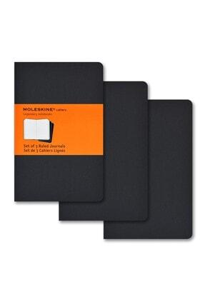 Moleskine Cahier Pocket 3 Lü Paket Çizgili Defter Siyah  /