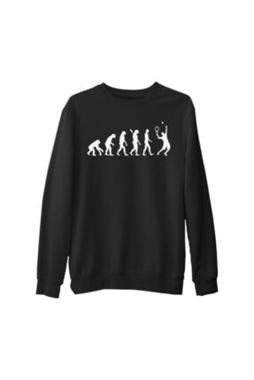 Lord T-Shirt Erkek Siyah Tenis Player Evolution Kalın Sweatshirt