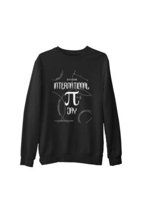 Lord T-Shirt Erkek Siyah Matematik Pi Kalın Sweatshirt