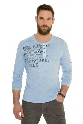 Camp David Erkek Uzun Kol Mavi T-shirt