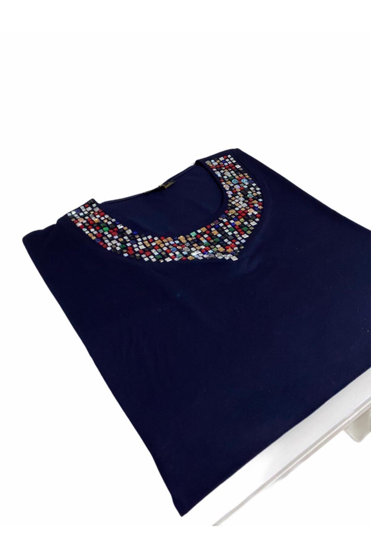 Elele Lacivert Renkli Taş Baskı 0 Yaka Anne Penye Bluz 1
