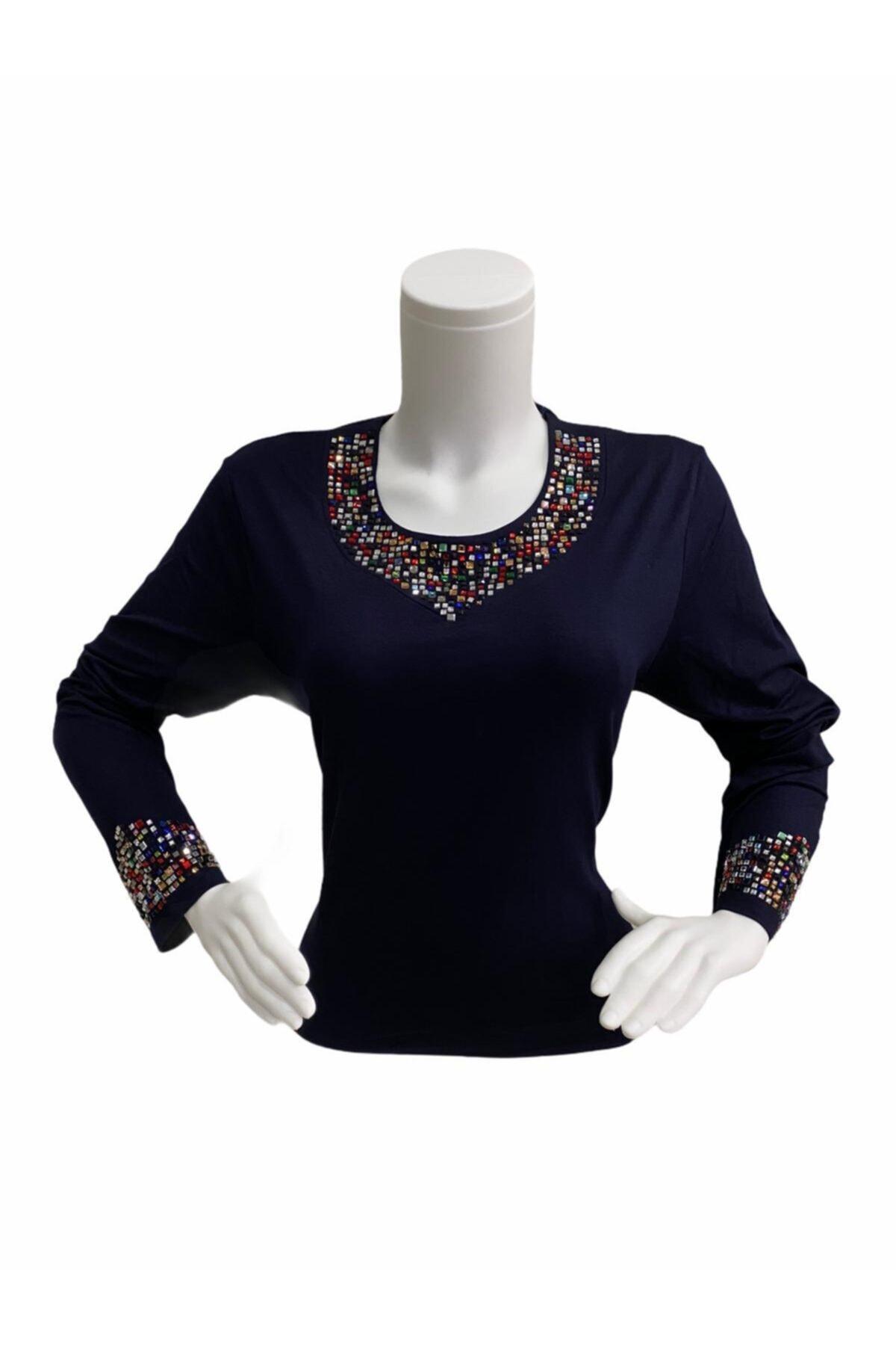 Elele Lacivert Renkli Taş Baskı 0 Yaka Anne Penye Bluz 2
