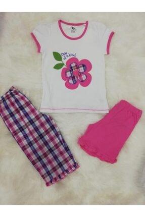 Wonder Kıds Kız Çocuk 130608 Üçlü Yazlık Pijama Takımı
