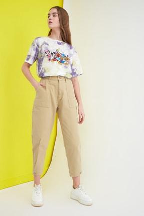 TRENDYOLMİLLA Bej Paça Detaylı Yüksek Bel Slouchy Jeans TWOSS21JE0254