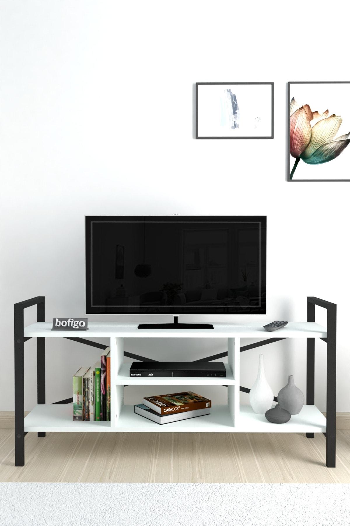 Bofigo Tv Sehpası Raflı Tv Ünitesi Televizyon Sehpası Beyaz 1