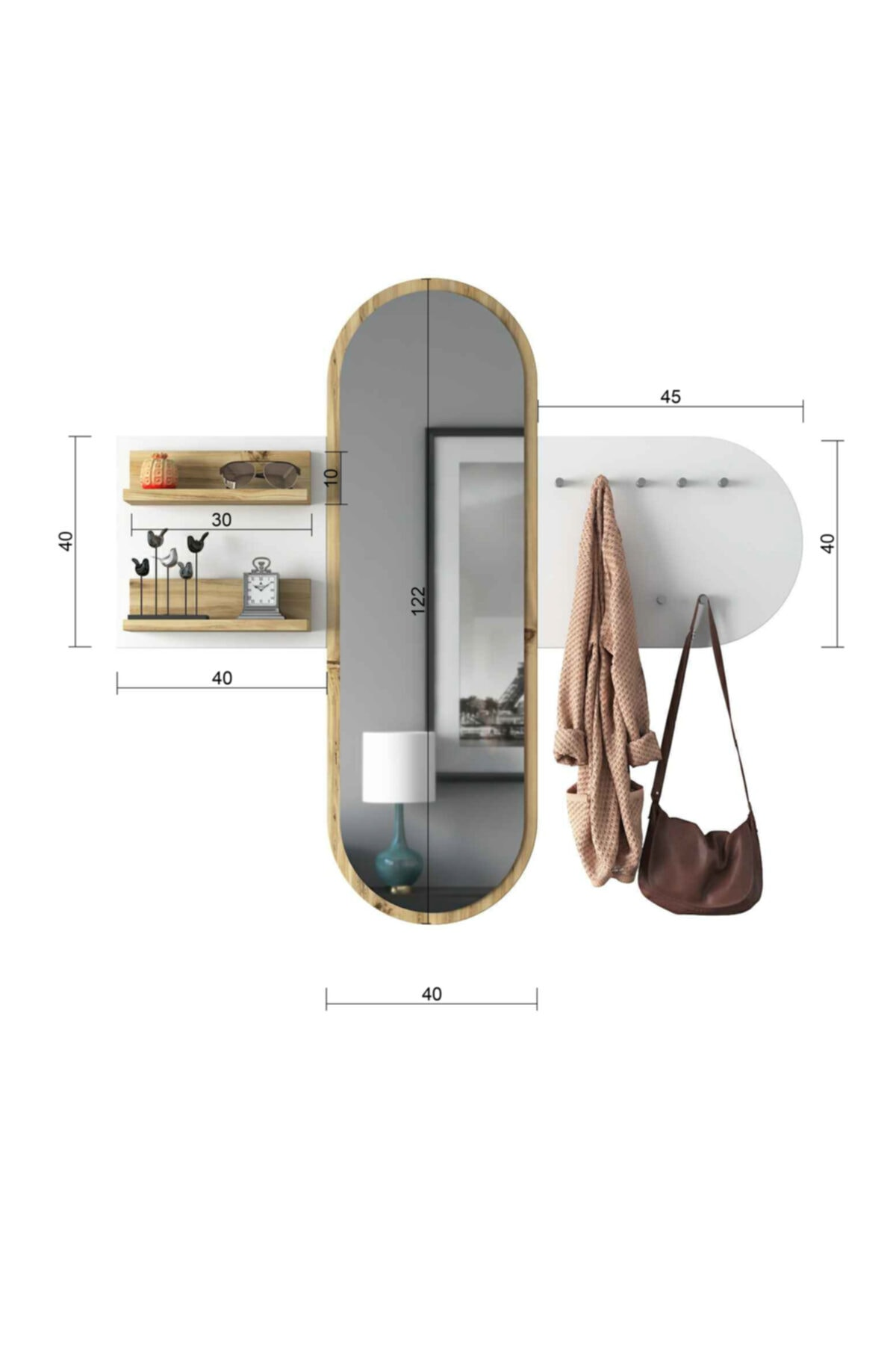 Rani Mobilya Rani P3 Aynalı Duvar Askısı Boy Aynası Keçe Ceviz Beyaz Vestiyer 2