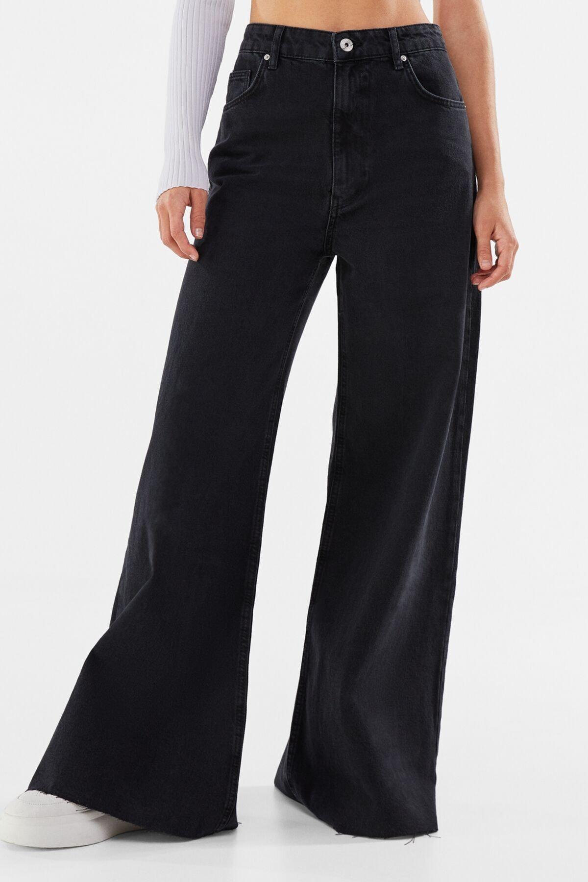 Bershka Kadın Siyah Wide Leg Jean 00046747
