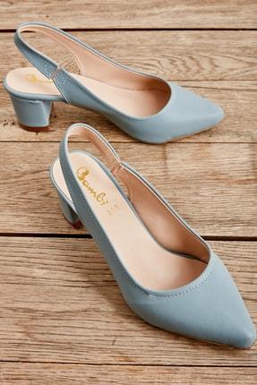 Bambi Mavi Nubuk Kadın Klasik Topuklu Ayakkabı K01503721071
