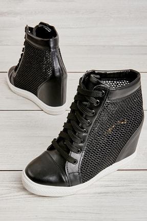 Bambi Siyah Beyaz Kadın Casual Ayakkabı K01503520022