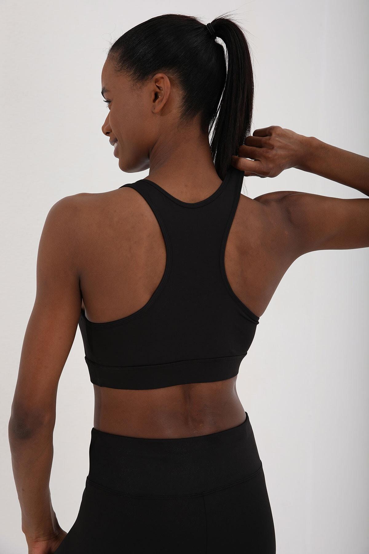 Tommy Life Siyah Kadın Yüksek Bel Toparlayıcılı Sırt Detaylı Büstiyer Tayt Takım-95281 2