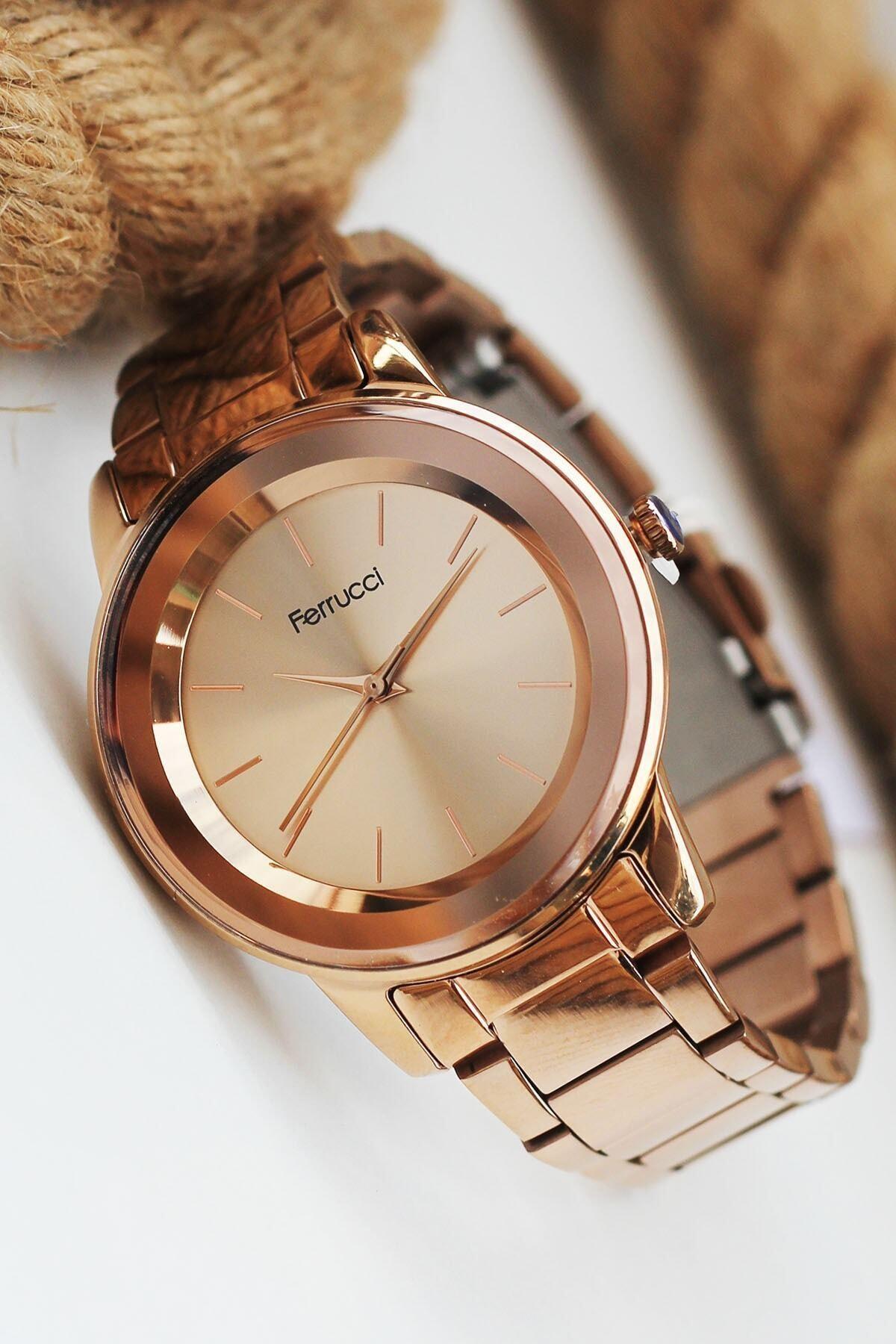 Ferrucci Kadın Rose Gold Kol Saati Büyük Kasa Fc N8596 01 1