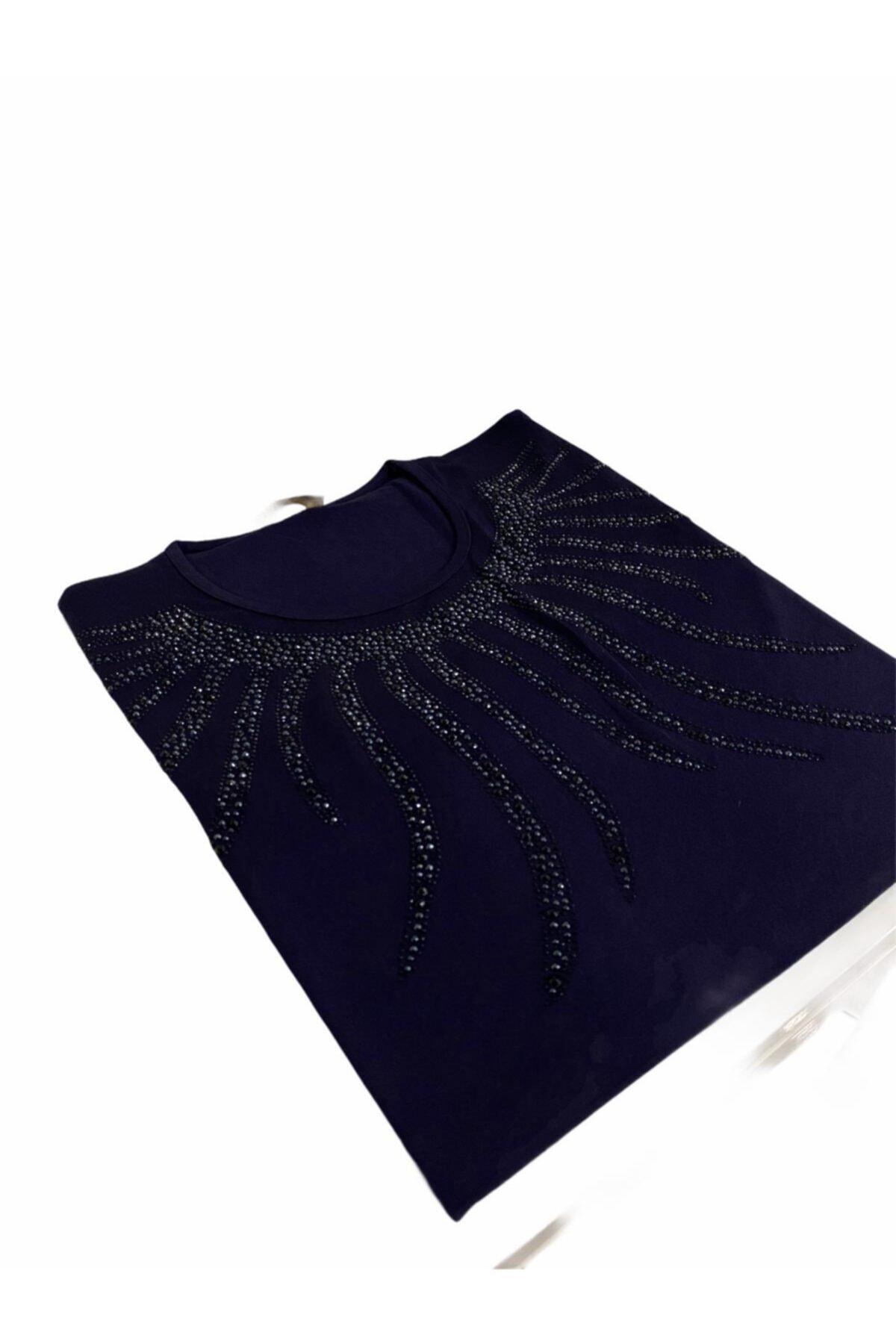 Elele Kadın Lacivert Sıfır Yaka Anne Penye Bluz 2