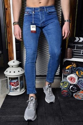 Lose Jeans Erkek Mavi Skinny Fit Tırnaklı Bilek Boy Jean Pantolon