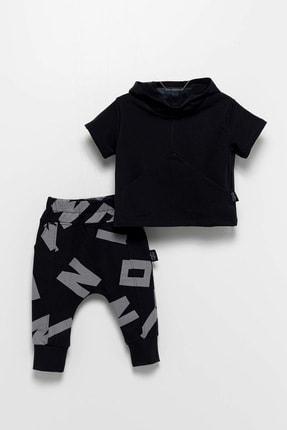 Moi Noi Unisex Bebek Siyah  Kapüşonlu Takım