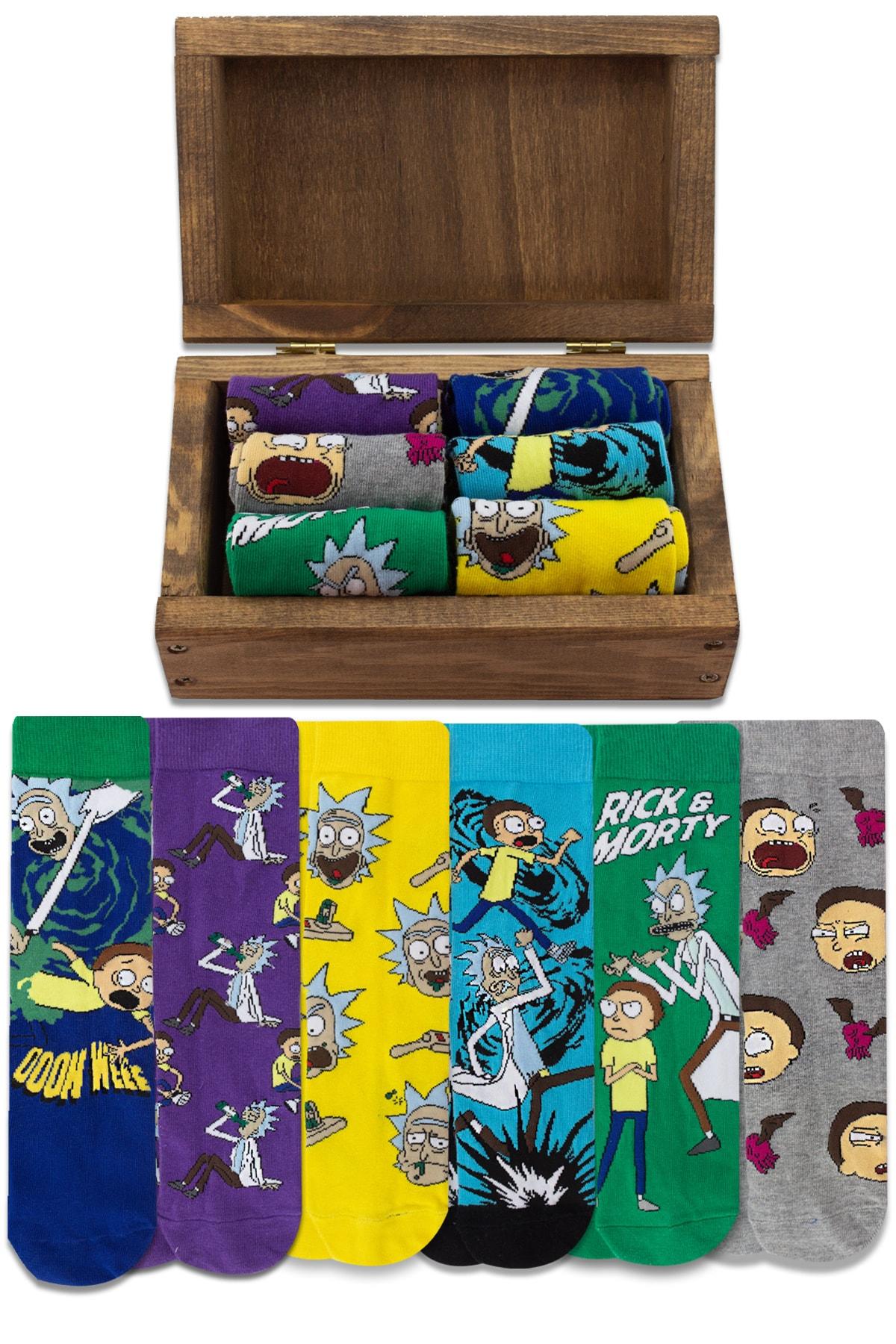 Socksarmy Rick & Morty Desenli 6 'lı Ahşap Kutulu Çorap Seti 1