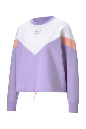 Puma Kadın Spor Sweatshirt - Iconic MCS Cropped Crew Light Lavender - 59965416