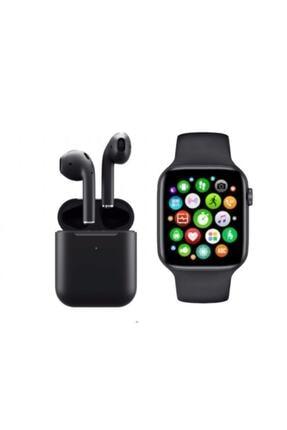 SmartWatch Unisex Siyah Akıllı Saat T500 + Airpods I12 Kablosuz Kulaklık İkili