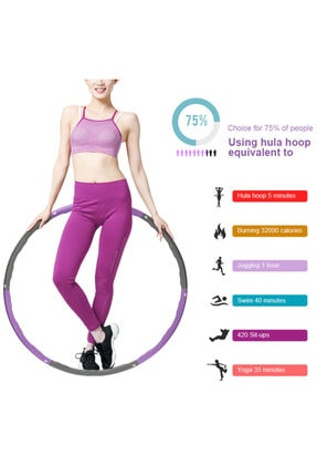 Povit 1500 Gr Ağırlıklı Hulahop Çemberi 6 Parça 100 Cm Çapında Geçmeli Pilates Egzersiz Hulahoop Çemberi