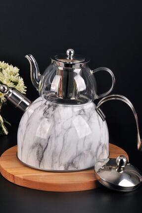 Bayev Beyaz Mermer Desenli Düdüklü Cam Çaydanlık