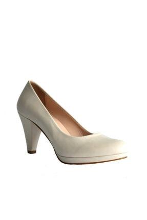 Beta Shoes Kadın Hakiki Deri Topuklu Ayakkabı Kemik