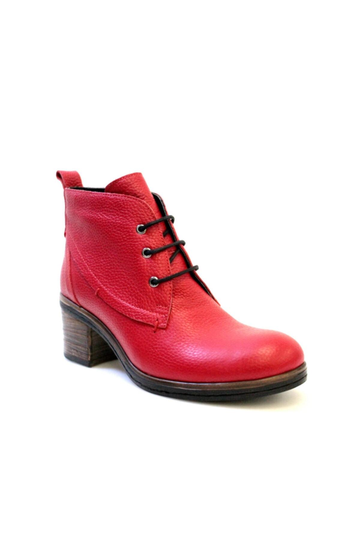 Beta Shoes Kadın Hakiki Deri Bot Kırmızı 1