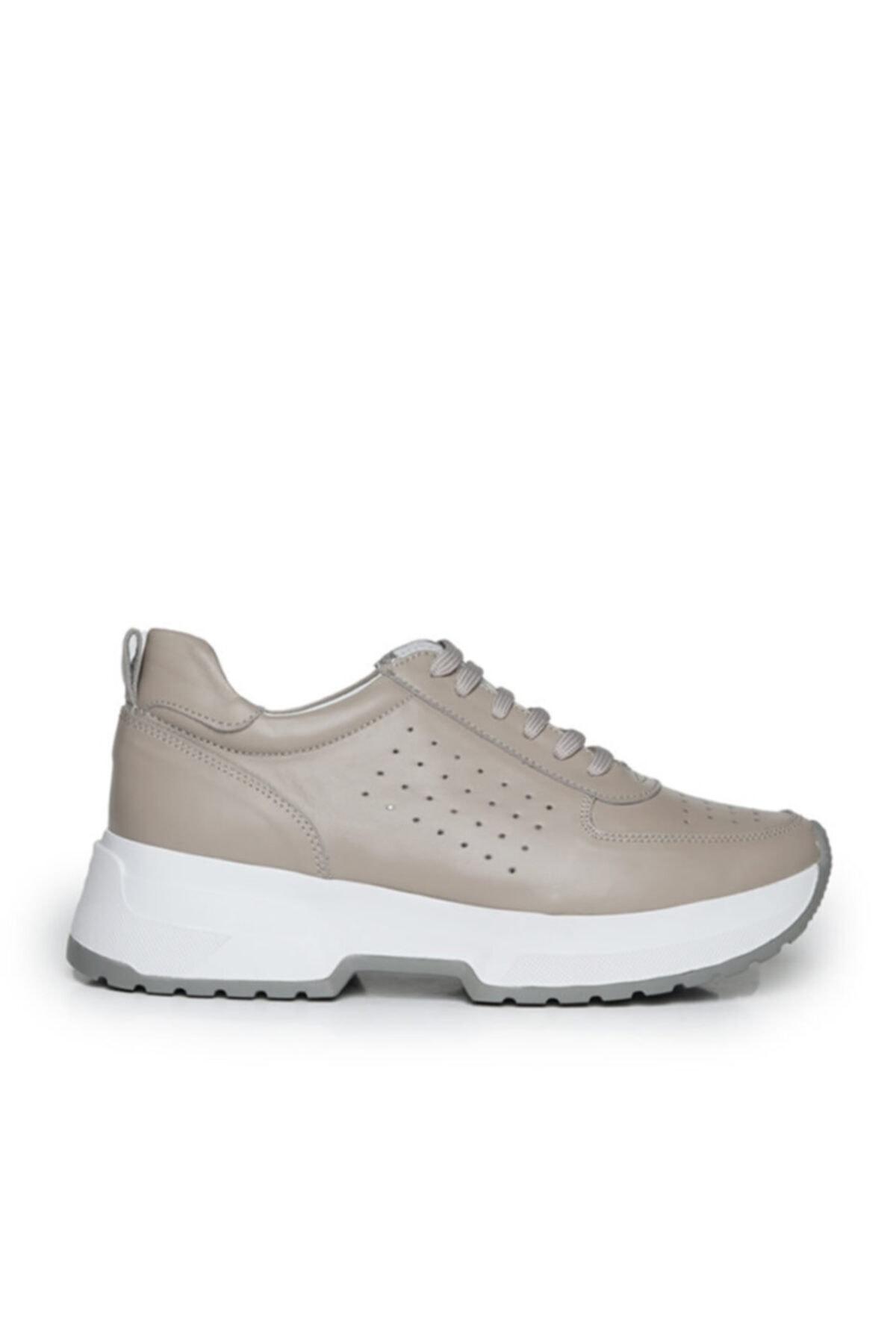 Beta Shoes Hakiki Deri Kadın Sneaker Spor Ayakkabı Gri Toprak 2
