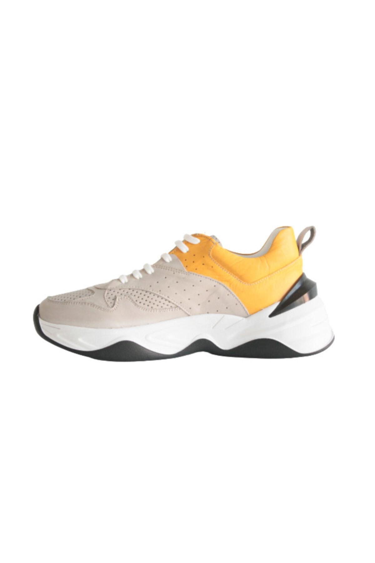 Beta Shoes Sneaker Spor Ayakkabı Hakiki Deri Kadın Gri - Hardal 2