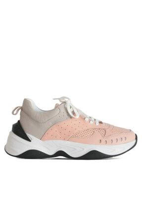 Beta Shoes Kadın Hakiki Deri Sneaker Spor Ayakkabı Gri-pudra