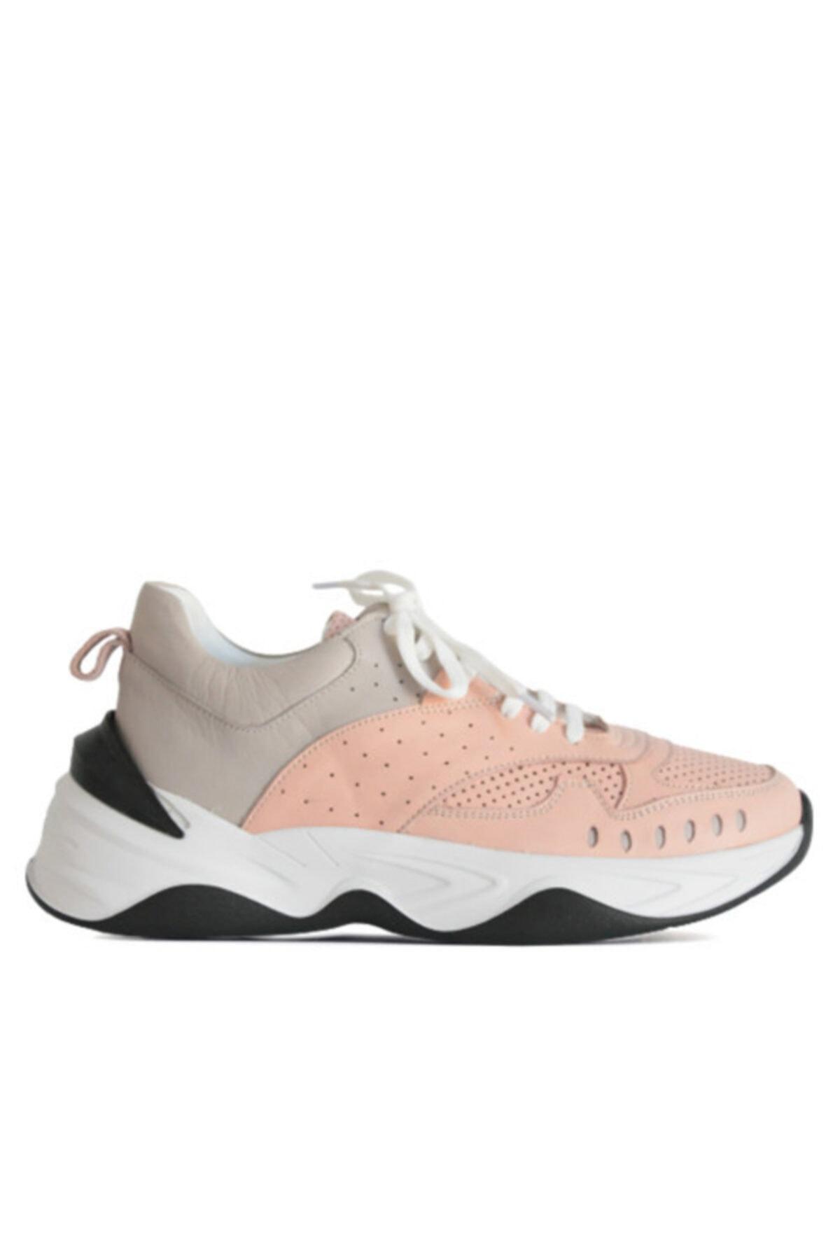 Beta Shoes Kadın Hakiki Deri Sneaker Spor Ayakkabı Gri-pudra 1