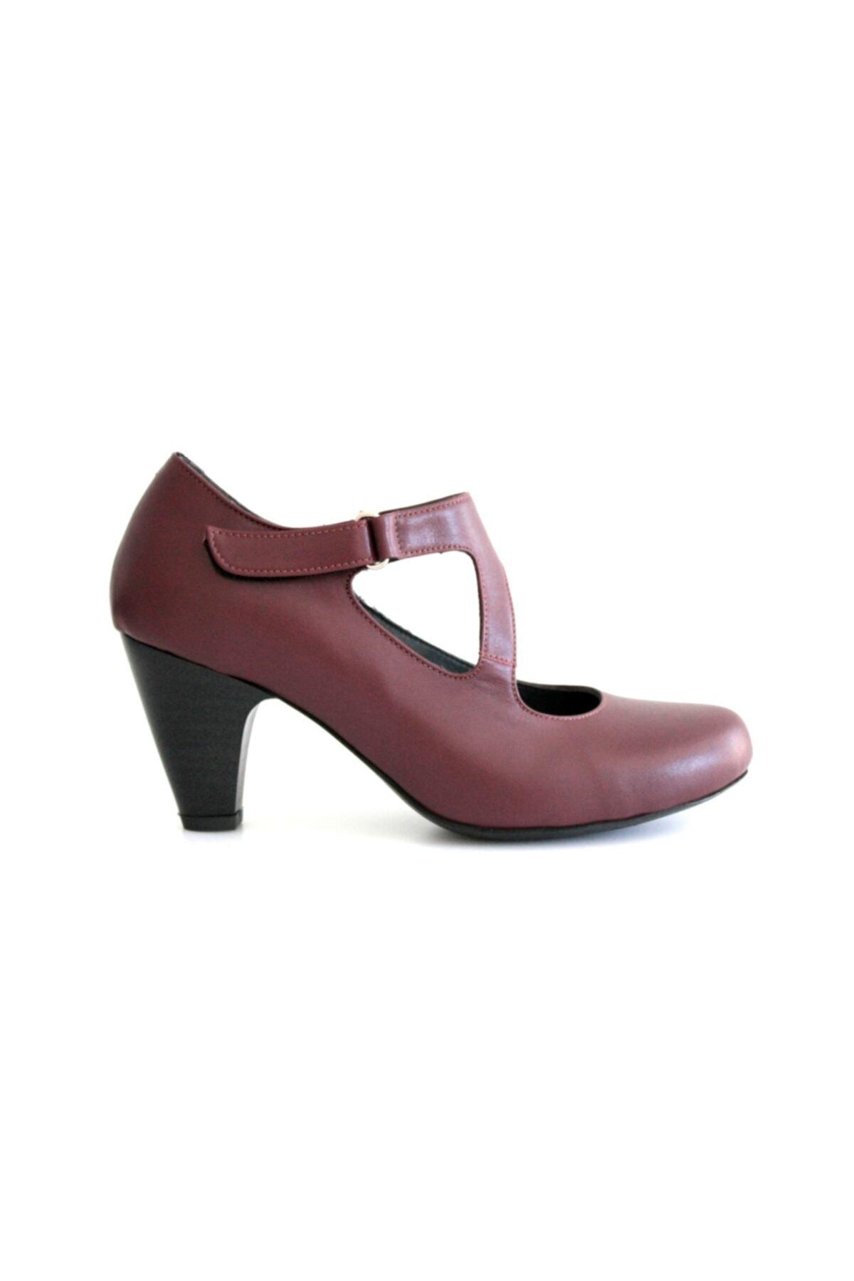 Beta Shoes Kadın Hakiki Deri Topuklu Ayakkabı Bordo 2