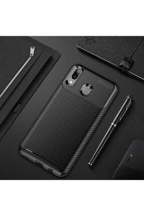 Huawei Y7 Prime 2019 Kılıf Karbon Fiber Tasarımlı Dayanıklı Negro Model
