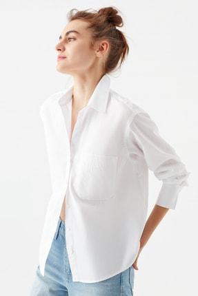 Mavi Tek Cepli Beyaz Poplin Gömlek 122828-620