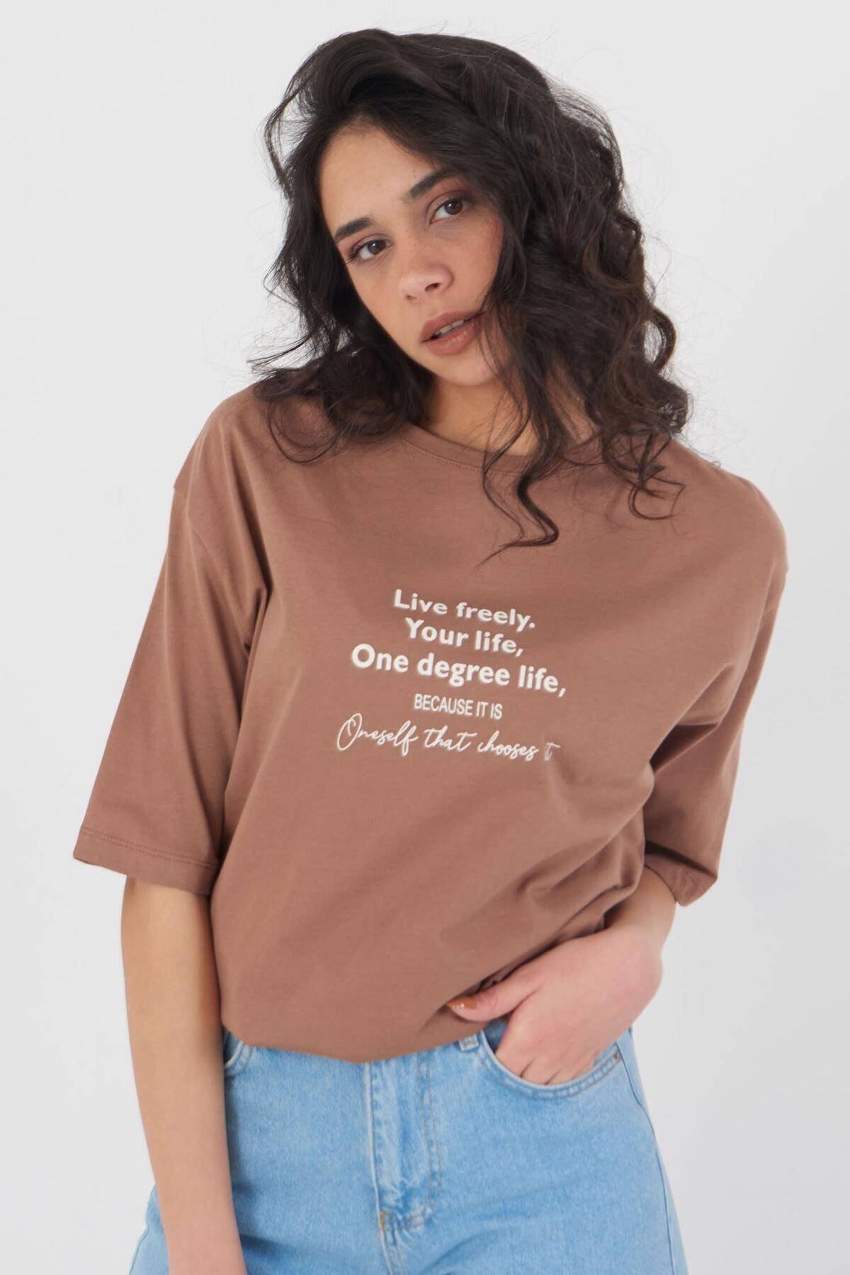 Addax Baskılı T-shirt P4021 - X1