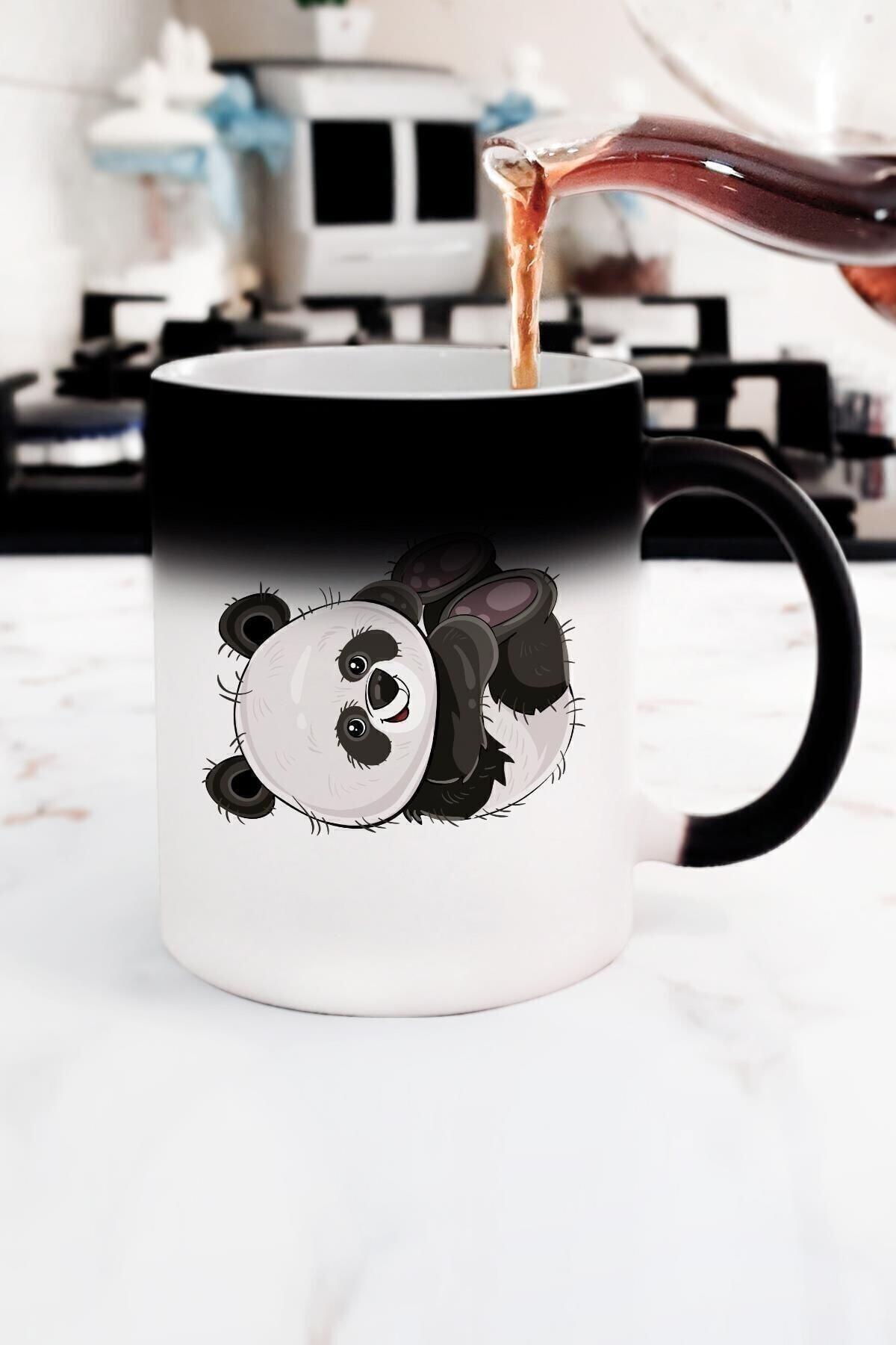 Yaprak Hediyelik Sevimli Panda Sihirli Kupa Bardak 1