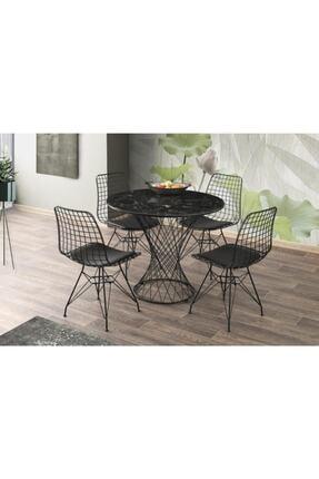 Erezogulları Mobilya Mermer Desen Yuvarlak Mutfak Masası Ve 4 Adet Sandalye 90cm