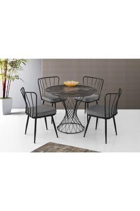 Erezogulları Mobilya Modern Mermer Desen Yuvarlak Mutfak Masası Ve 4 Adet Sandalye