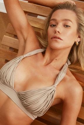 TRENDYOLMİLLA Vizon Drapeli Bikini Üstü TBESS21BU0186