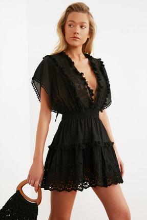 TRENDYOLMİLLA Siyah Fisto Detaylı Vual Plaj Elbisesi TBESS21EL1248