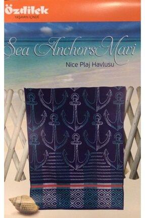 Özdilek Plaj Havlu 70x150 Sea Anchors Mavi