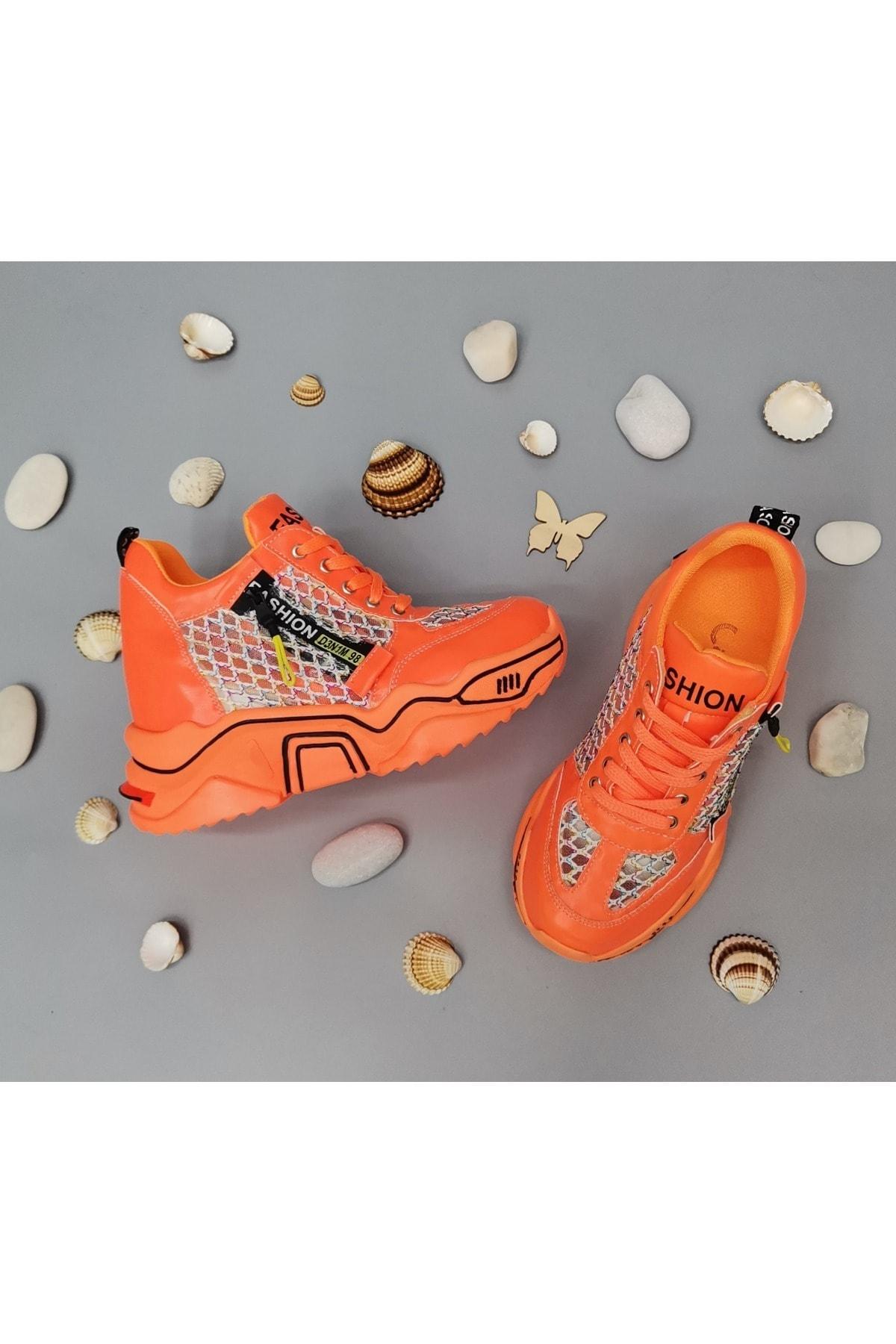CassidoShoes Anatomik Dolgu Taban Neon Oranj Kadın Spor Ayakkabı 1